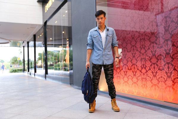 modna koszula jeansowa męska